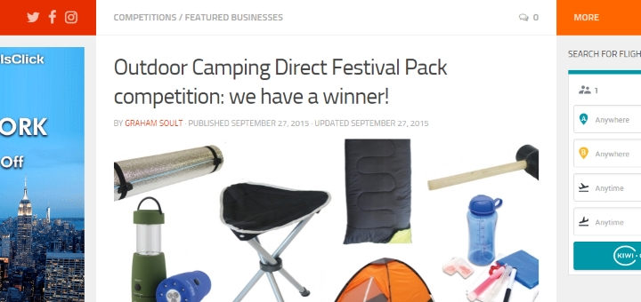 A competition we ran with Outdoor Camping Direct