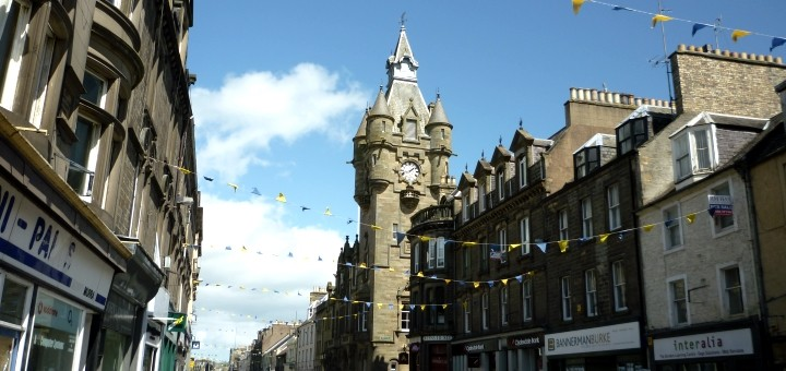 High Street and Town Hall, Hawick. Photograph by Graham Soult