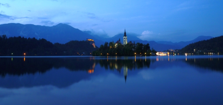 Lake Bled by night. Photograph by Graham Soult