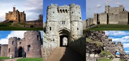 Clockwise from top left: Warkworth, Carisbrooke, Dover, Tintagel and Beeston Castles. Photographs by Mick Bunks