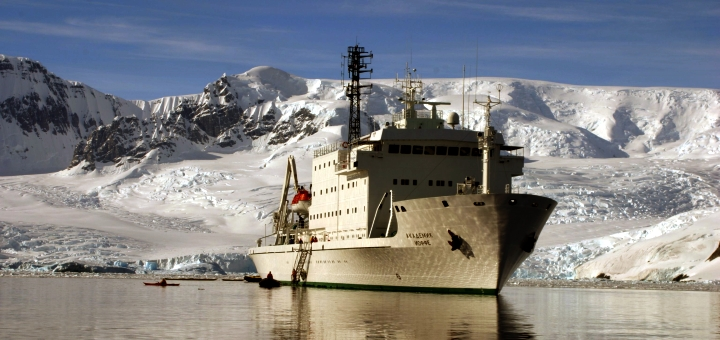 The Akademik Ioffe polar research vessel. Photograph by Andrew Prossin