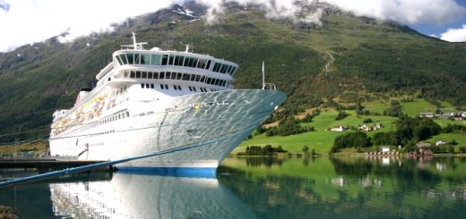Fred. Olsen's flagship cruise ship Balmoral at Olden in Norway