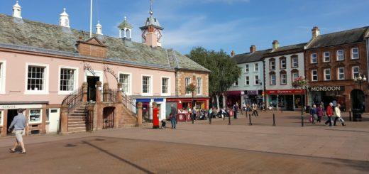 City centre shops in Carlisle. Photograph by Graham Soult