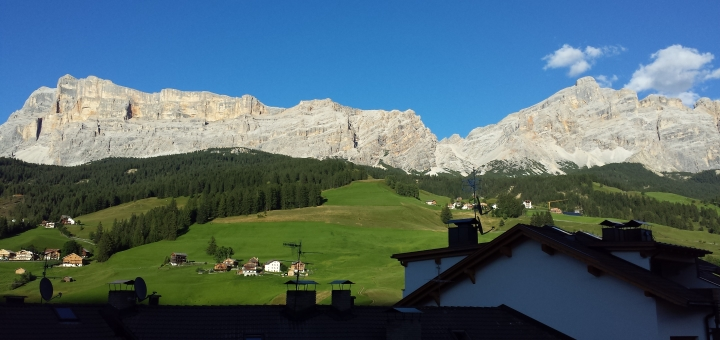 Balcony view at Inghams' Chalet Hotel Al Pigher in La Villa. Photograph by Graham Soult