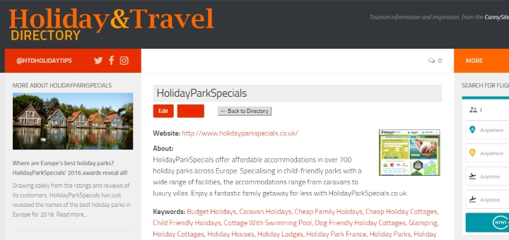 HolidayParksSpecial listing as part of £99 Package, with link to article