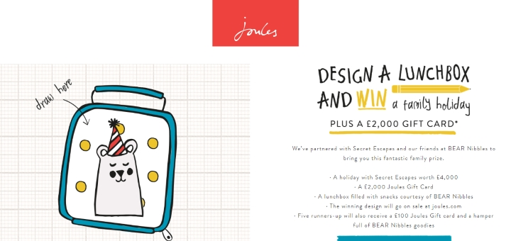 Joules lunchbox competition microsite