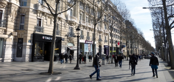 Shops in the Avenue des Champs-Élysées, Paris. Photograph by Graham Soult