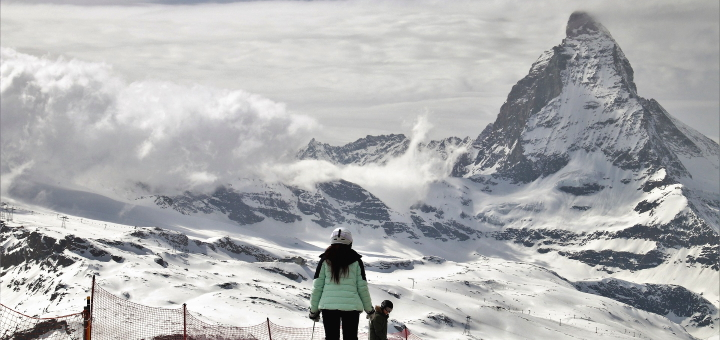 Skiing in the shadow of the Matterhorn. Photograph by Julita