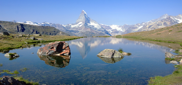 View of the Matterhorn from Stellisee. Photograph by Manuel Huber