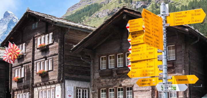 Traditional buildings in Zermatt. Photograph by Christel