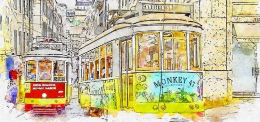 A LIsbon street scene. Artwork by ArtTower at Pixabay
