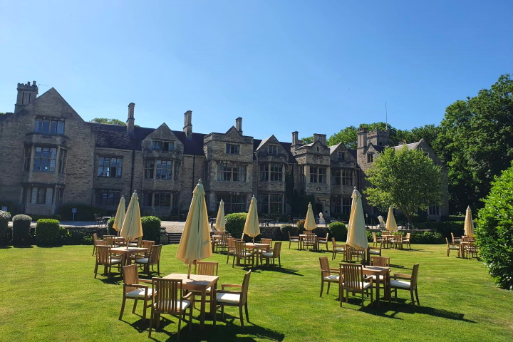 Socially distanced outdoor seating at Redworth Hall Hotel
