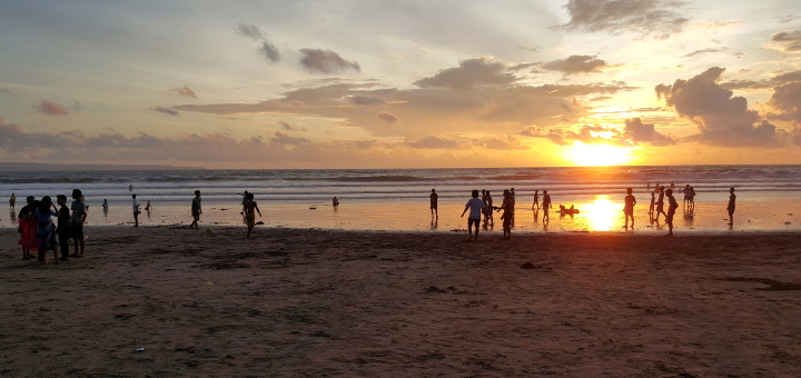 Sunset at Kuta beach in Bali