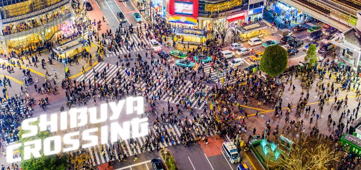 The bustling Shibuya Crossing in Tokyo