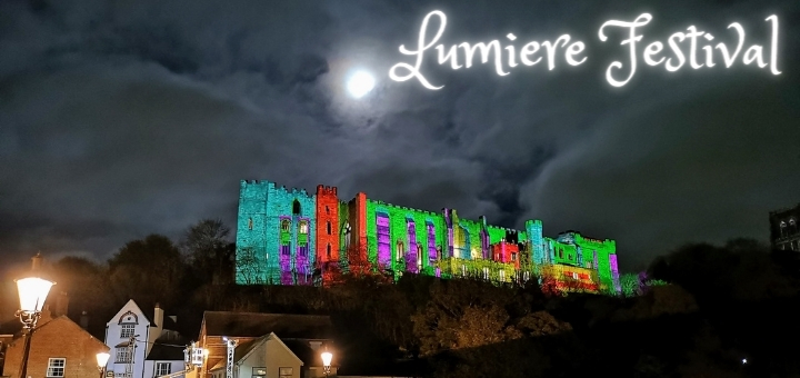 Durham Castle lit up for the Lumiere festival in 2019