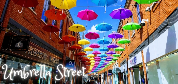 The popular Umbrella Street installation at Durham's Prince Bishops shopping centre